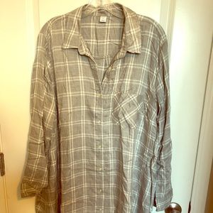 Old Navy Plaid Button Down Shirt Dress New w/tags